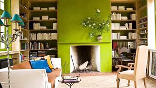 Green color in the interior of the living room
