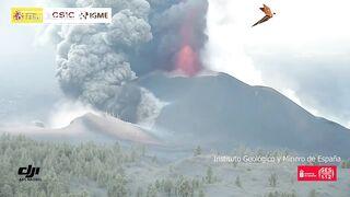 Взрыв и извержение вулкана на Канарских островах. Волны лавы