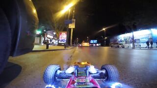 Driving a RC car at night in real car traffic